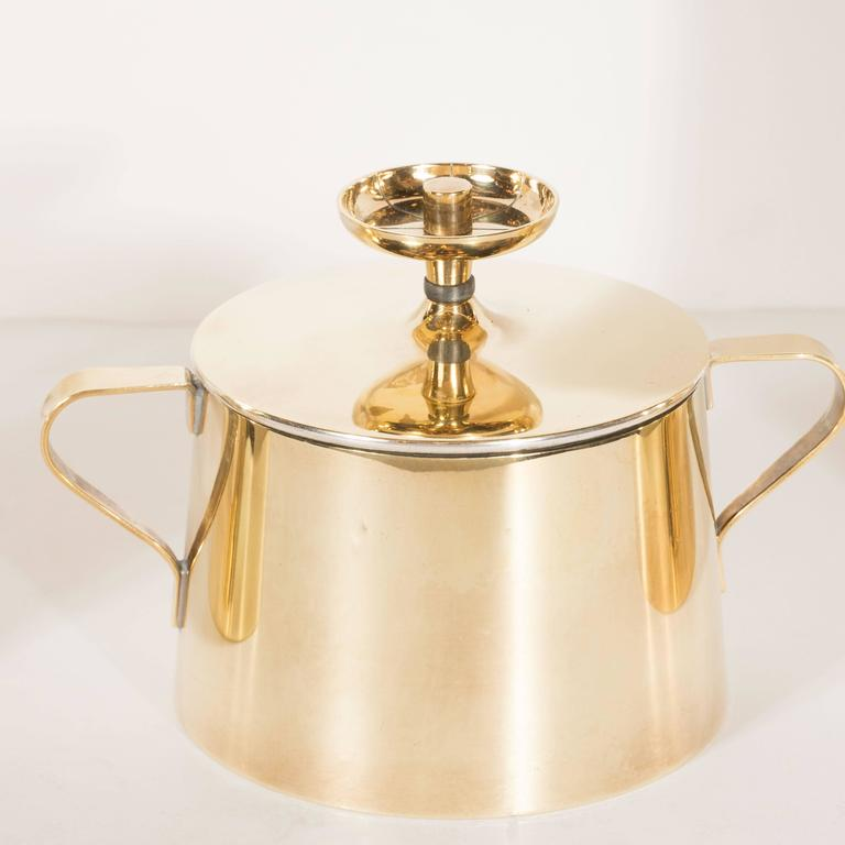 American Tommi Parzinger for Dorlyn Silversmiths Coffee/Tea Service in Brass and Walnut For Sale
