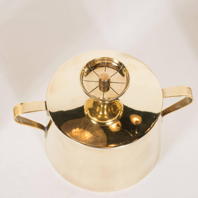 Tommi Parzinger for Dorlyn Silversmiths Coffee/Tea Service in Brass and Walnut In Excellent Condition For Sale In New York, NY