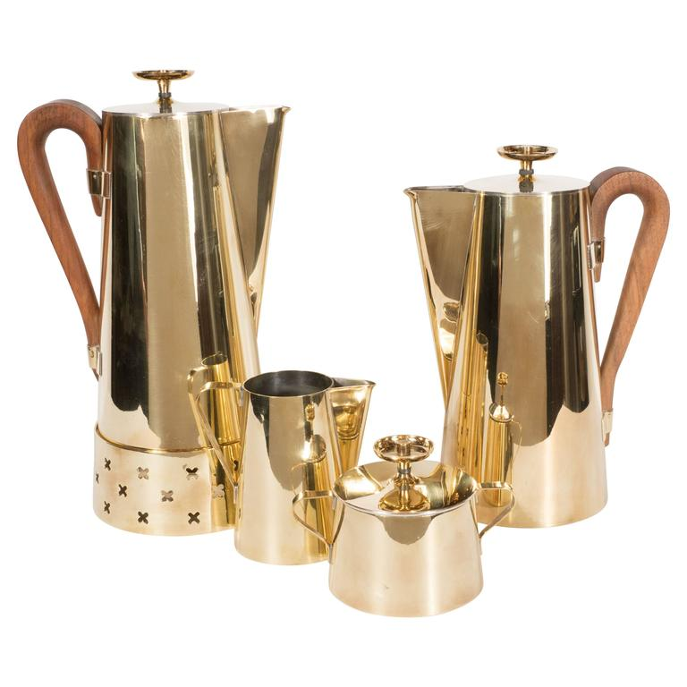 Tommi Parzinger for Dorlyn Silversmiths Coffee/Tea Service in Brass and Walnut For Sale