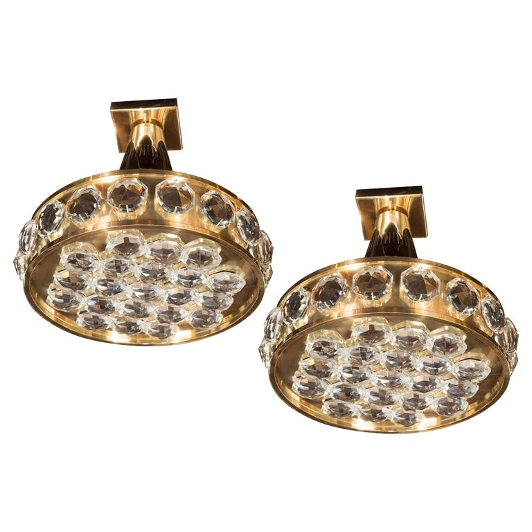 Pair of Bakalowits and Sohne Fine Cut Crystal and Polished Brass Pendants