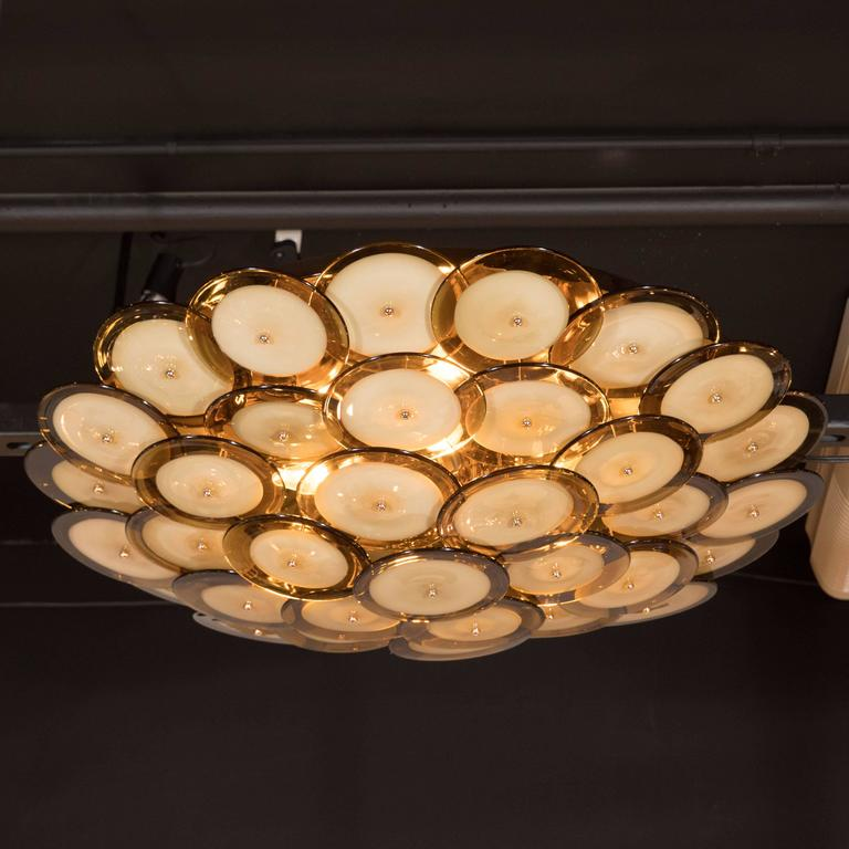 Flush Mount Murano Disc Chandelier in Smoked Topaz with Brass Base 2