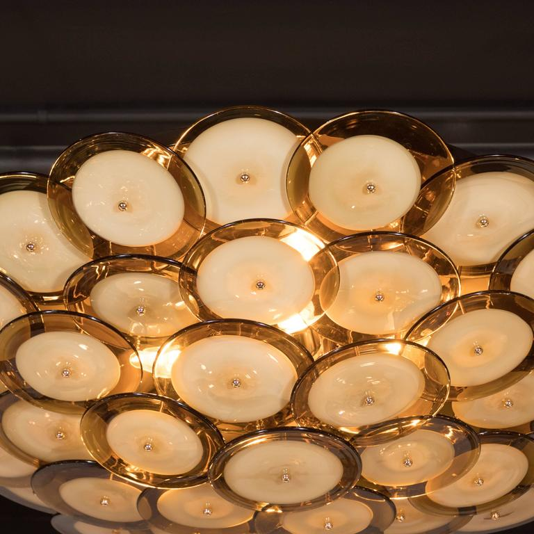 Flush Mount Murano Disc Chandelier in Smoked Topaz with Brass Base 5