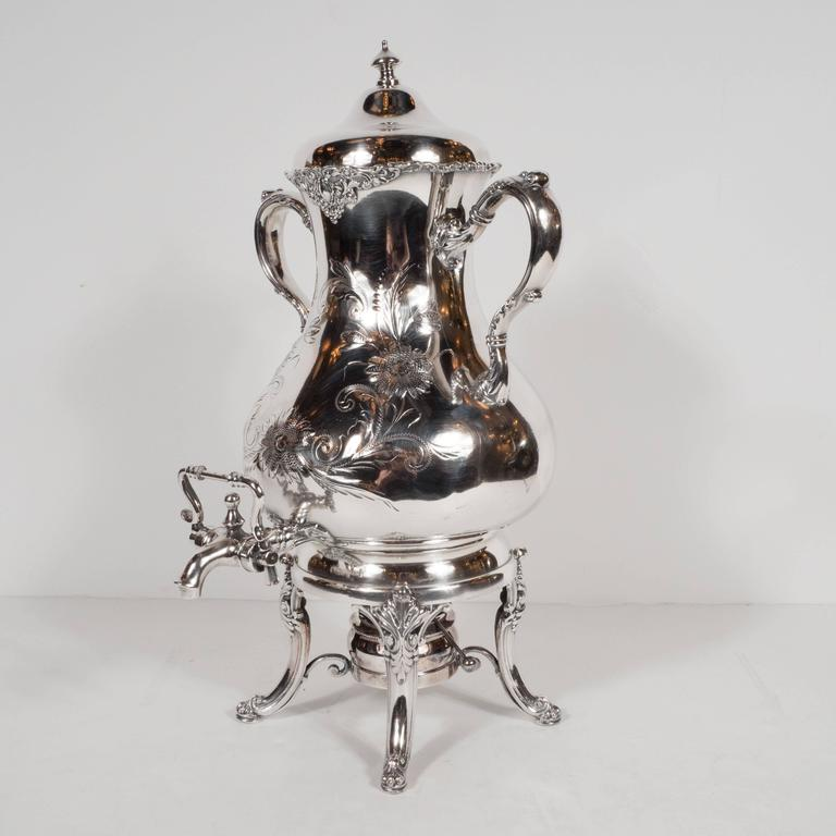 English Elegant Neoclassical Silverplated Coffee/Tea Service by Elkington & Co. For Sale