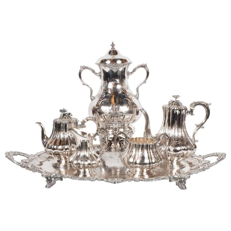 Elegant Neoclassical Silverplated Coffee/Tea Service by Elkington & Co. For Sale