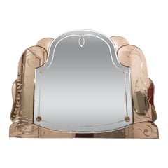 Magnificent Art Deco Rose Gold and Silver Mirror with Flora and Fauna Accents