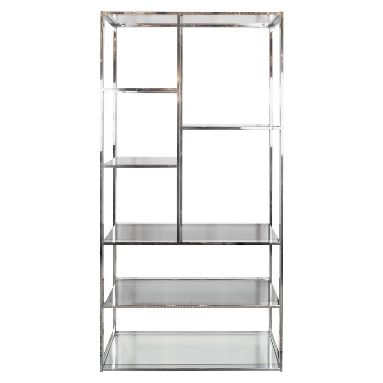 Mid-Century Modernist Chrome, Smoked Glass and Mirror Étagère by Milo Baughman