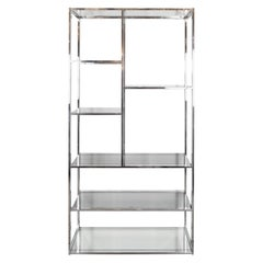 Mid-Century Chrome & Smoked Glass & Mirror Étagère/ Book Case by Milo Baughman