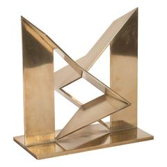 Mid-Century Modernist Abstract Sculpture by Mathias Goeritz in Polished Brass