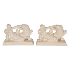 Art Deco Ceramic Book Ends Featuring Lion and Nude Female Figure