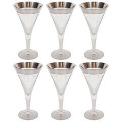 Mid-Century Sterling Silver Overlaid Martini / Wine Glasses by Dorothy Thorpe