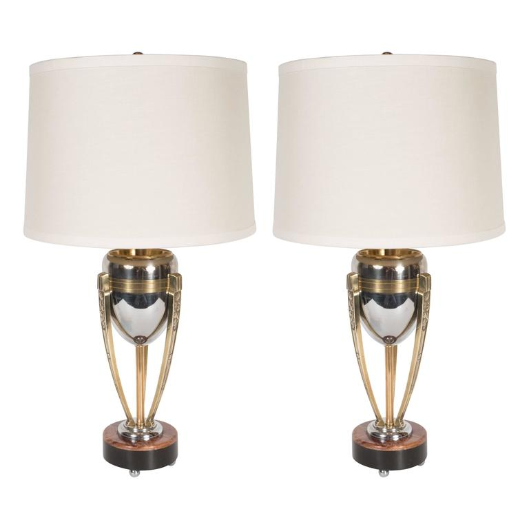 Pair of Art Deco Brass and Chrome Table Lamp with Onyx and Red Alicante Marble