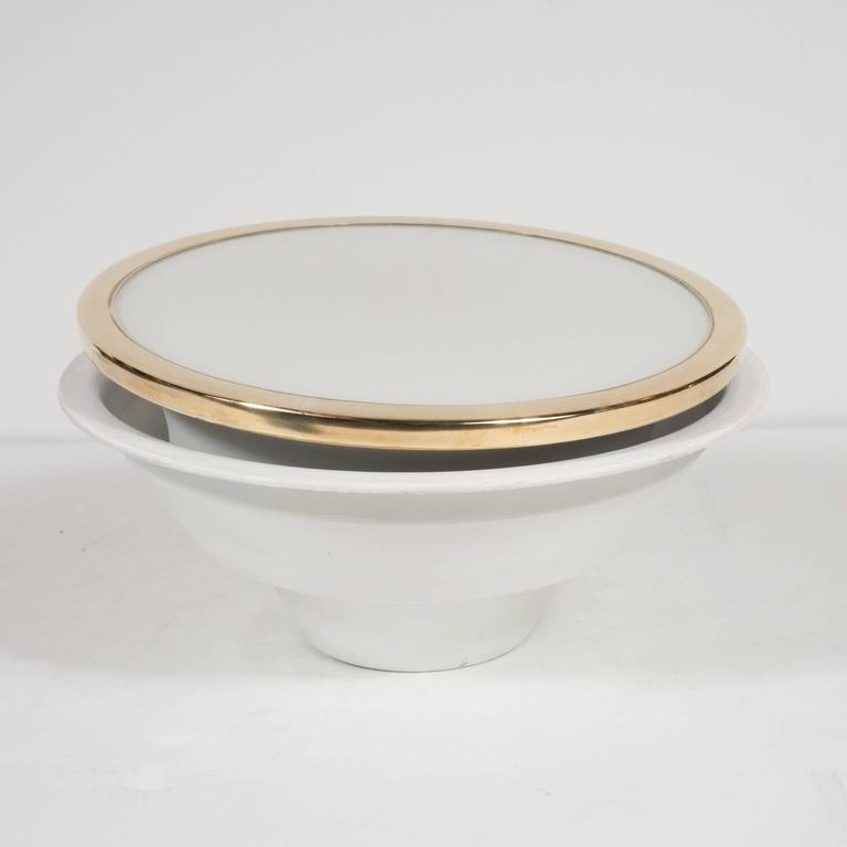 Mid-Century Scandinavian Recessed Flush Mounts with Brass and Frosted Glass In Excellent Condition For Sale In New York, NY