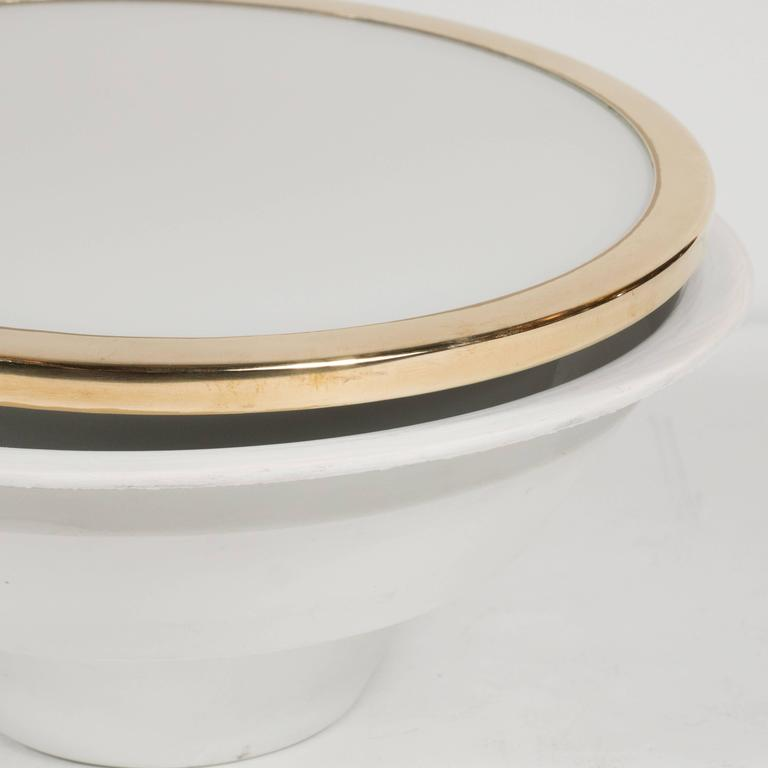 Mid-20th Century Mid-Century Scandinavian Recessed Flush Mounts with Brass and Frosted Glass For Sale
