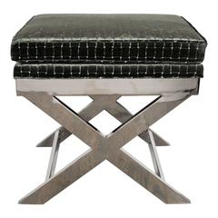 Milo Baughman X-Form Bench in Polished Chrome and Textured Velvet Upholstery