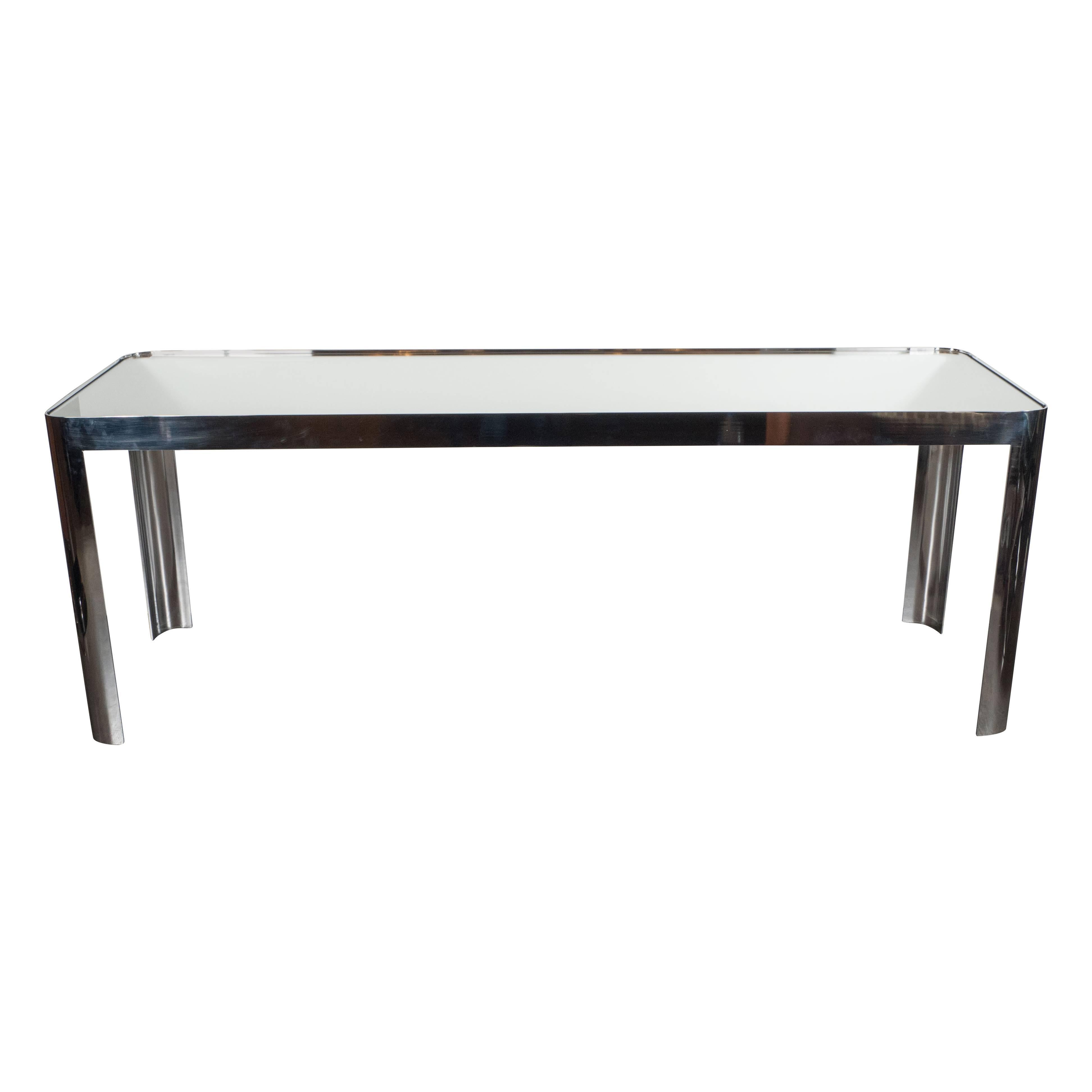 Mid-Century Modernist Console Table in Seamless Polished Chrome & Mirror by Pace