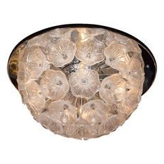 Handblown Murano Textured Glass Floral Chandelier with Polished Chrome Fittings