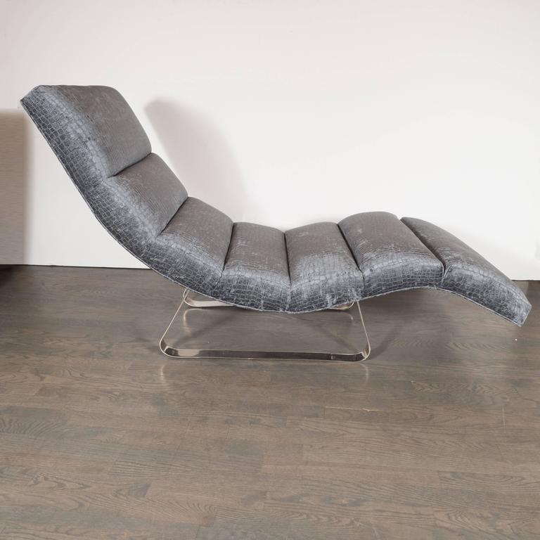 Midcentury Modernist Sculptural Smoked Sapphire Gaufrage