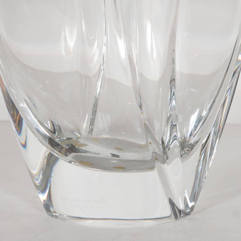 Stunning French Modernist Crystal Vase by Robert Rigot for Baccarat For Sale 1