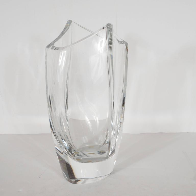 Stunning French Modernist Crystal Vase by Robert Rigot for Baccarat In Excellent Condition For Sale In New York, NY