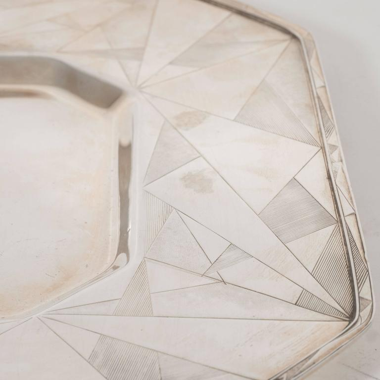Art Deco Skyscraper Style Silver Plated Tray with Chased Geometric Designs 5