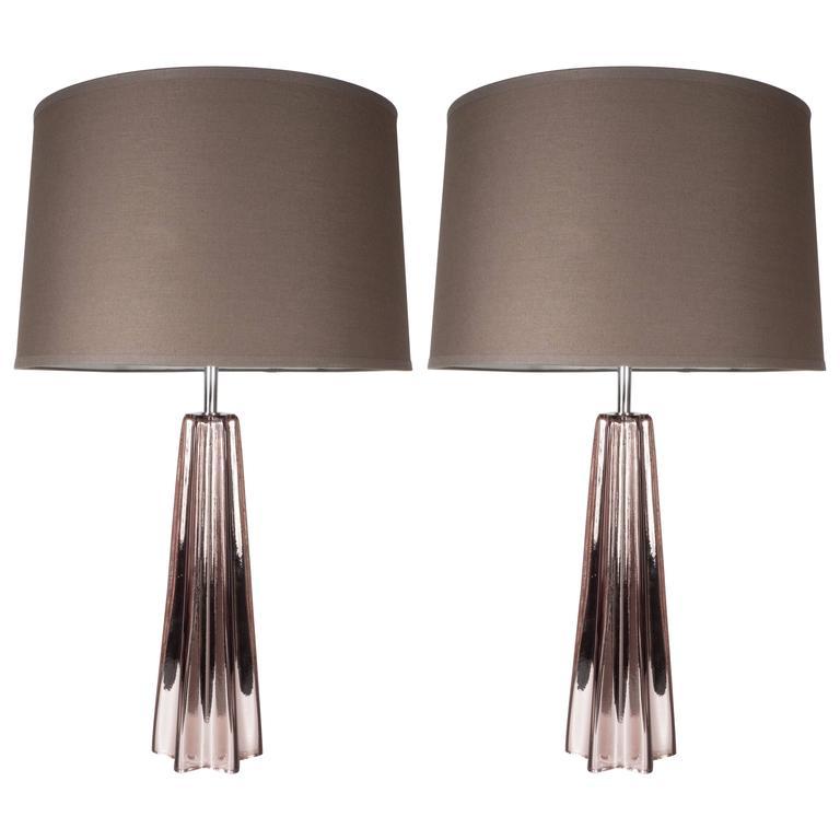 Modernist Smoked Amethyst Handblown Murano Mercury Glass Table Lamps