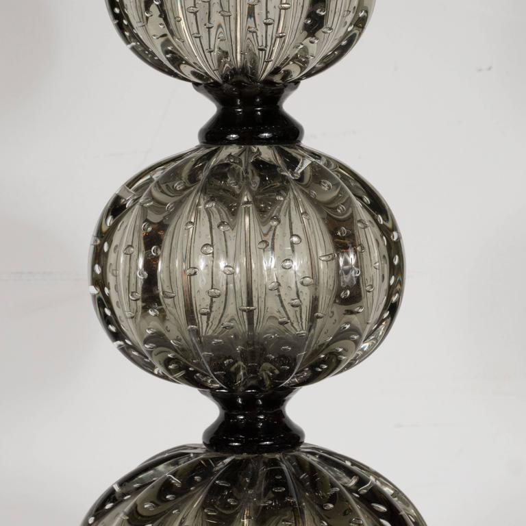 Italian Elegant Pair of Handblown Smoked Pewter Murano Glass Table Lamps For Sale