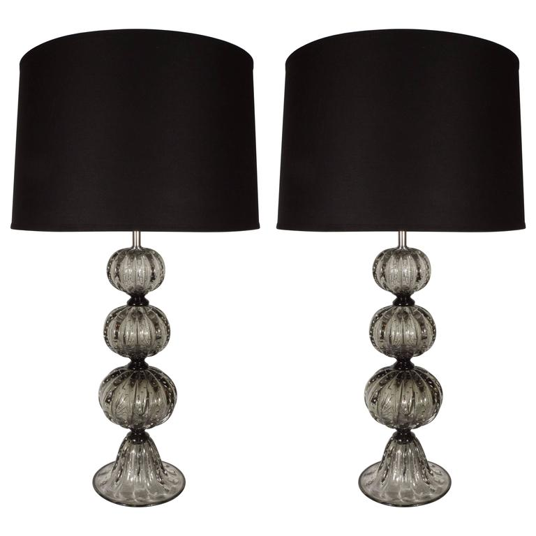 Elegant Pair of Handblown Smoked Pewter Murano Glass Table Lamps For Sale