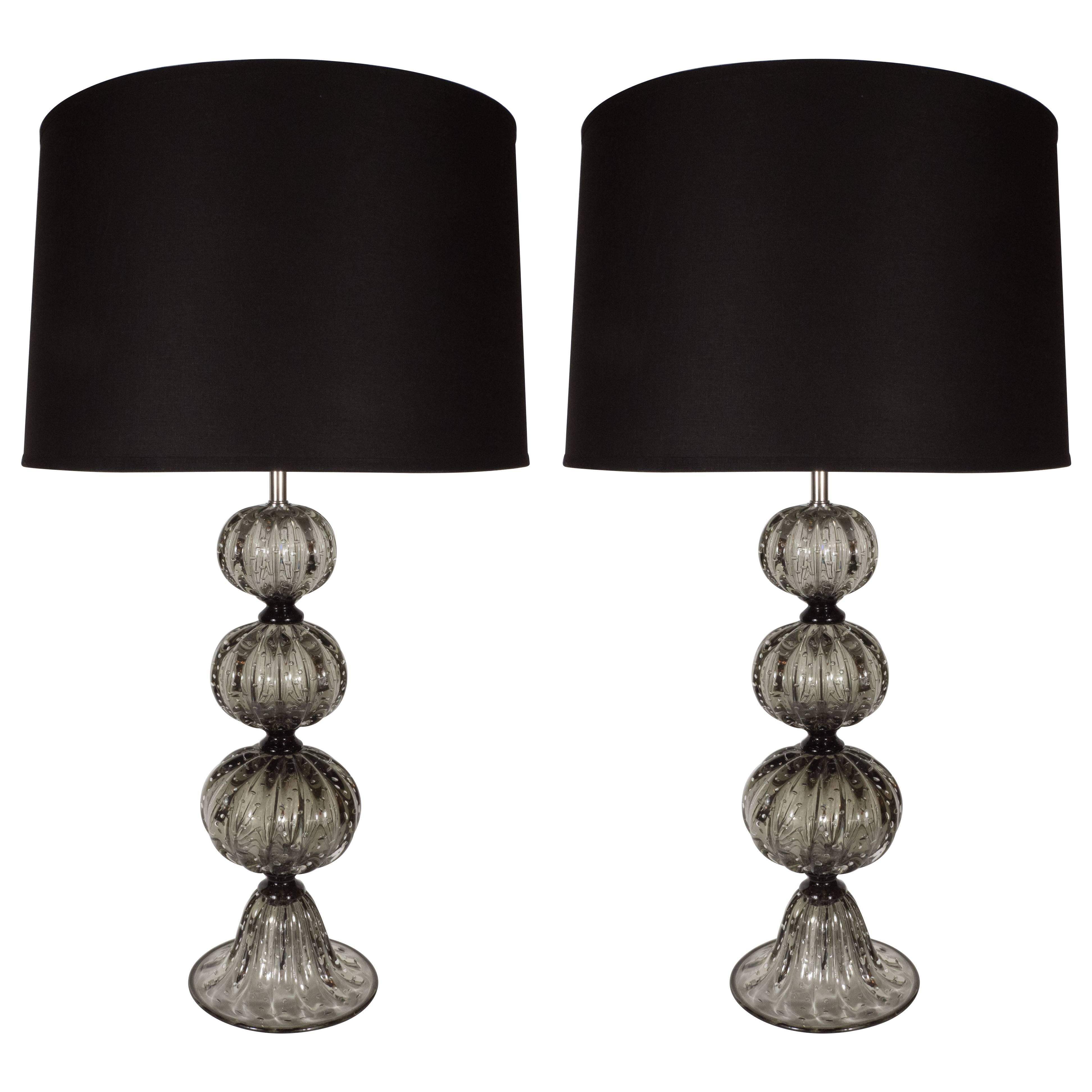 Pair of Handblown Smoked Pewter Murano Glass Table Lamps with Chrome Fittings