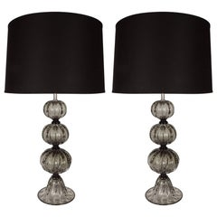 Elegant Pair of Handblown Smoked Pewter Murano Glass Table Lamps