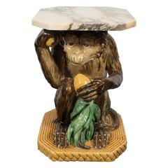 Antique Minton Majolica Monkey Occasional Table with Exotic Marble Top