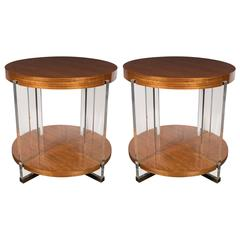 Pair of Vanguard Circular Tables in Bookmatched Mozambique with Lucite Supports