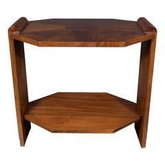 Elegant Art Deco Octagonal Side Occasional Table in Exotic Book-Matched Walnut