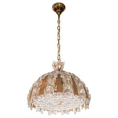 Exquisite Pair of Crystal and Gilded Brass Chandeliers by Palwa of Germany