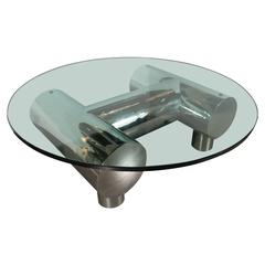 Mid-Century Modernist Custom Chrome and Glass Cocktail Table by William Pye
