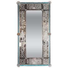 Venetian Handmade Reverse Etched Mirror W/ Murano Applique and Cerulean Border