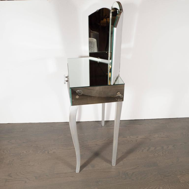 Art Deco 1940s Hollywood Vanity with Silver Leaf Cabriolet Legs and Smoked/Antique Mirror For Sale