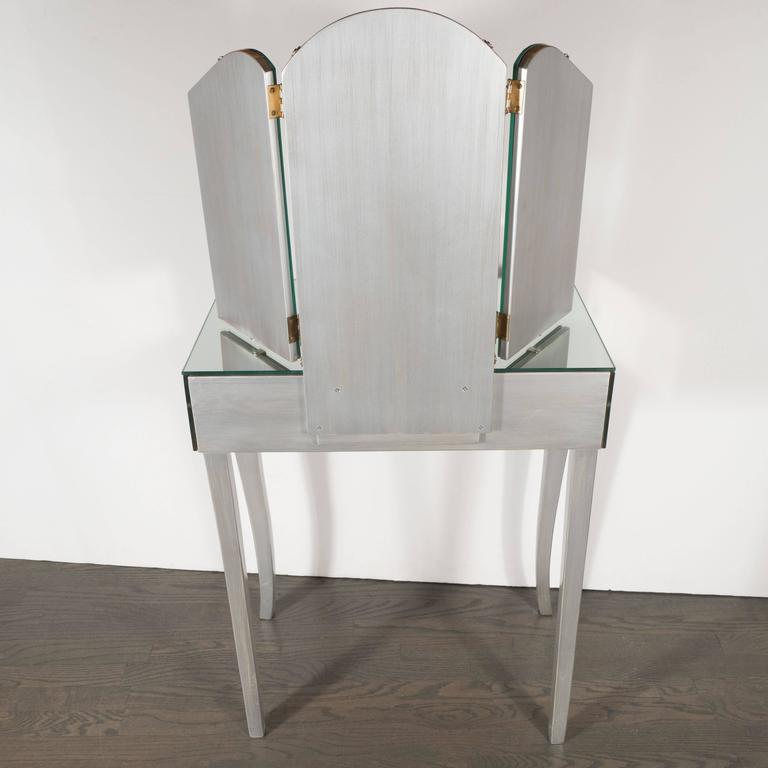 American 1940s Hollywood Vanity with Silver Leaf Cabriolet Legs and Smoked/Antique Mirror For Sale