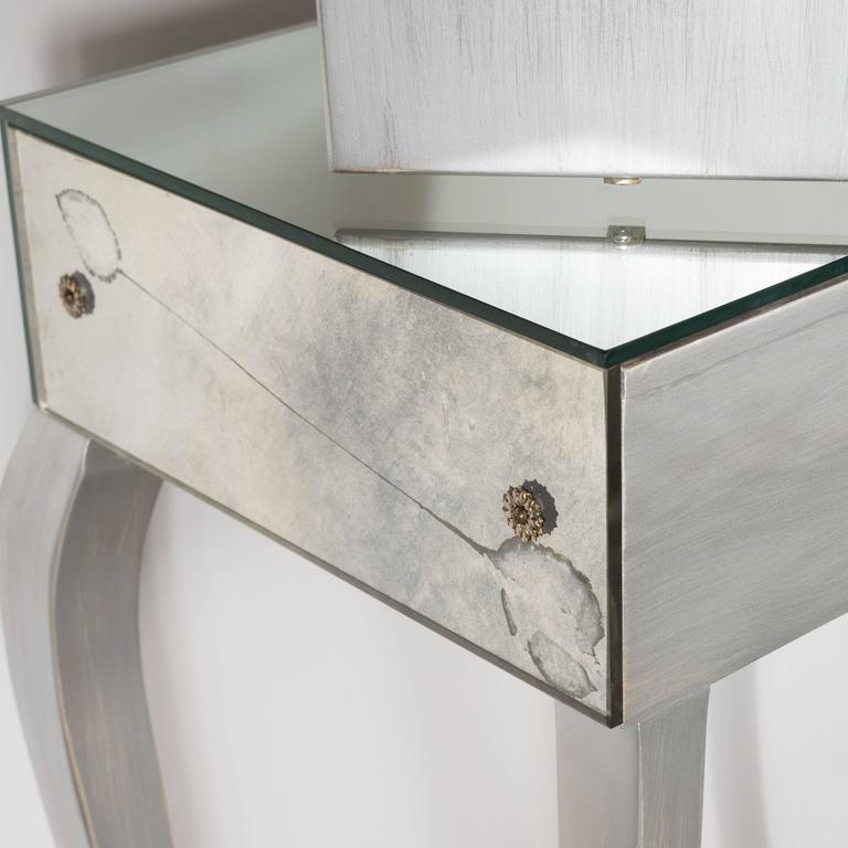 1940s Hollywood Vanity with Silver Leaf Cabriolet Legs and Smoked/Antique Mirror For Sale 4