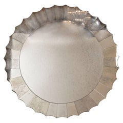 Elegant Mid-Century Modernist Scalloped Antiqued Mirror with Starburst Design
