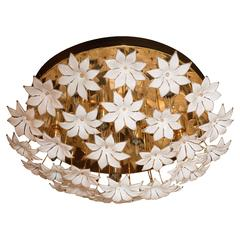 Stunning Mid-Century Modernist Murano Floral Flush Mount w/ Brass Fittings
