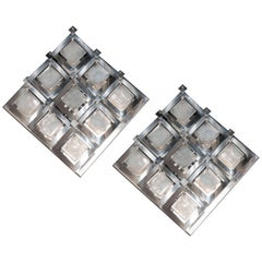 Chic Pair of Mid-Century Modernist Diamond Sconces in Murano Glass and Chrome