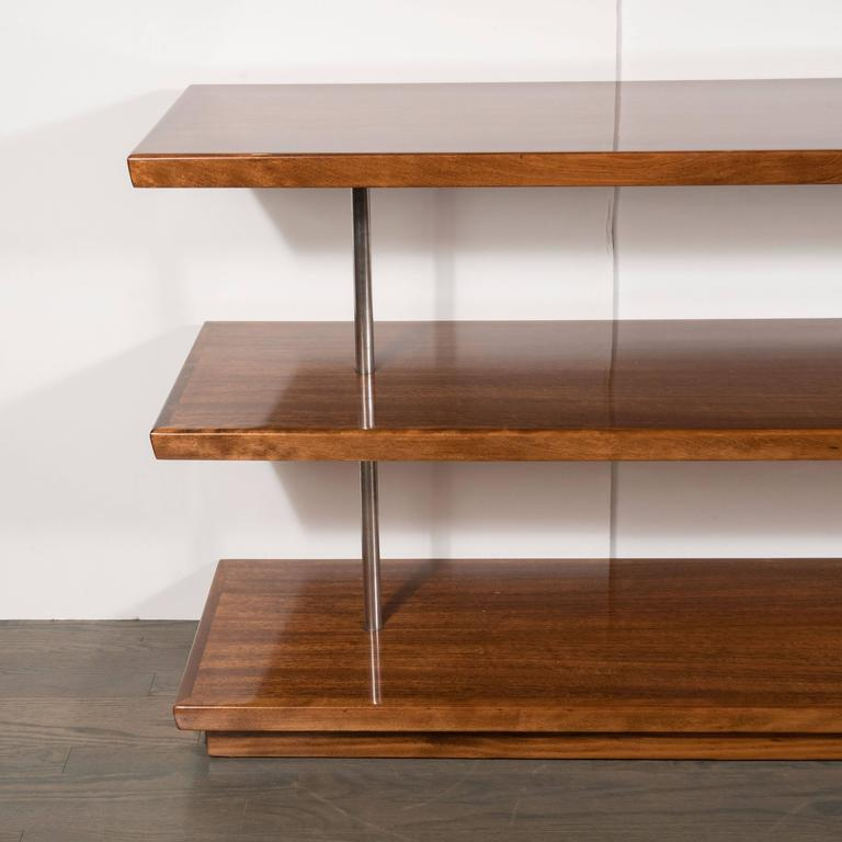 Mid-20th Century Art Deco Book-Matched Walnut Bookshelves, Gilbert Rohde with Aluminium Supports For Sale