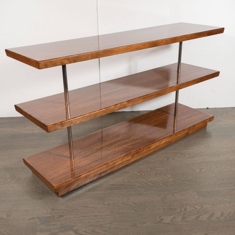 American Art Deco Book-Matched Walnut Bookshelves, Gilbert Rohde with Aluminium Supports For Sale