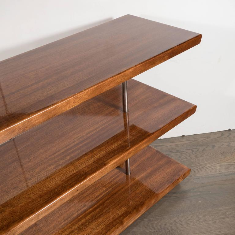 Art Deco Book-Matched Walnut Bookshelves, Gilbert Rohde with Aluminium Supports For Sale 1