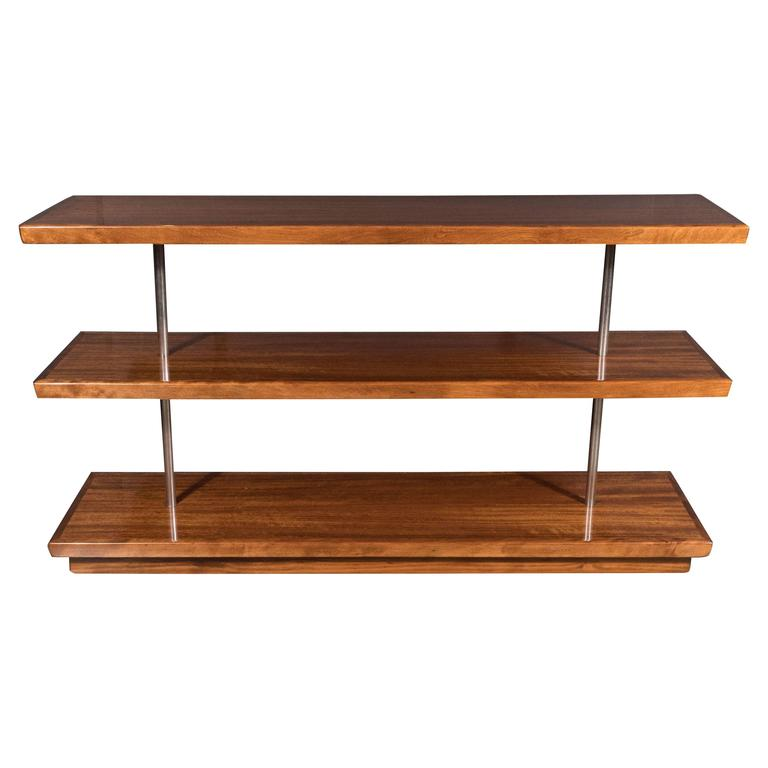 Art Deco Book-Matched Walnut Bookshelves, Gilbert Rohde with Aluminium Supports For Sale