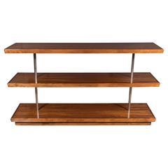 Art Deco Book-Matched Walnut Bookshelves, Gilbert Rohde with Aluminium Supports