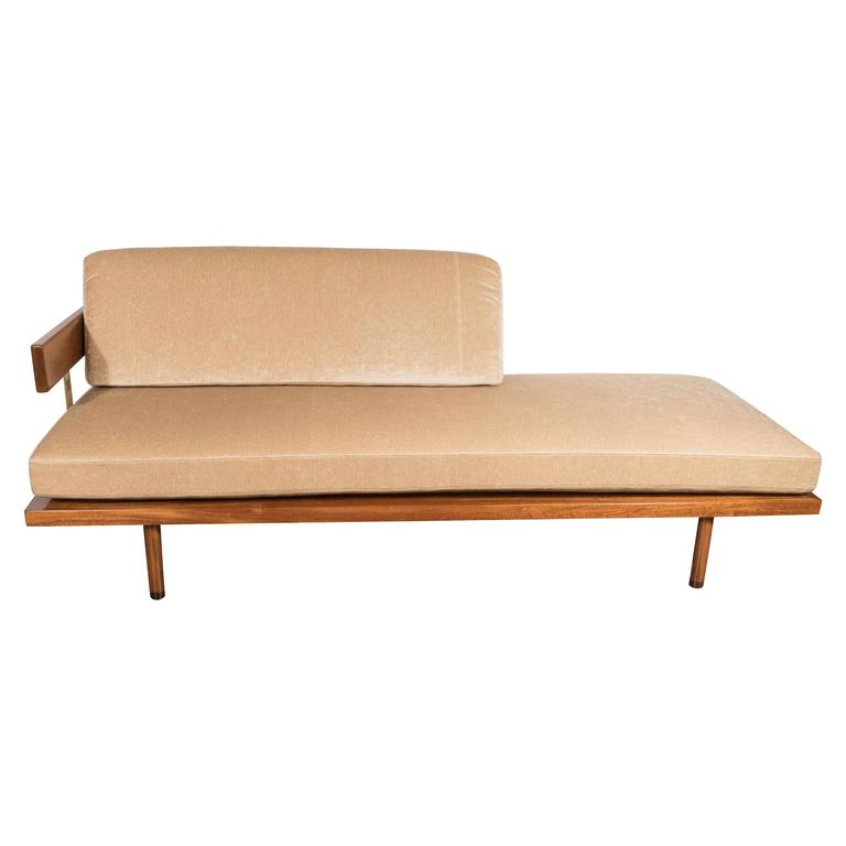 Midcentury Chaise by Harvey Probber with Mahogany and Brass Supports
