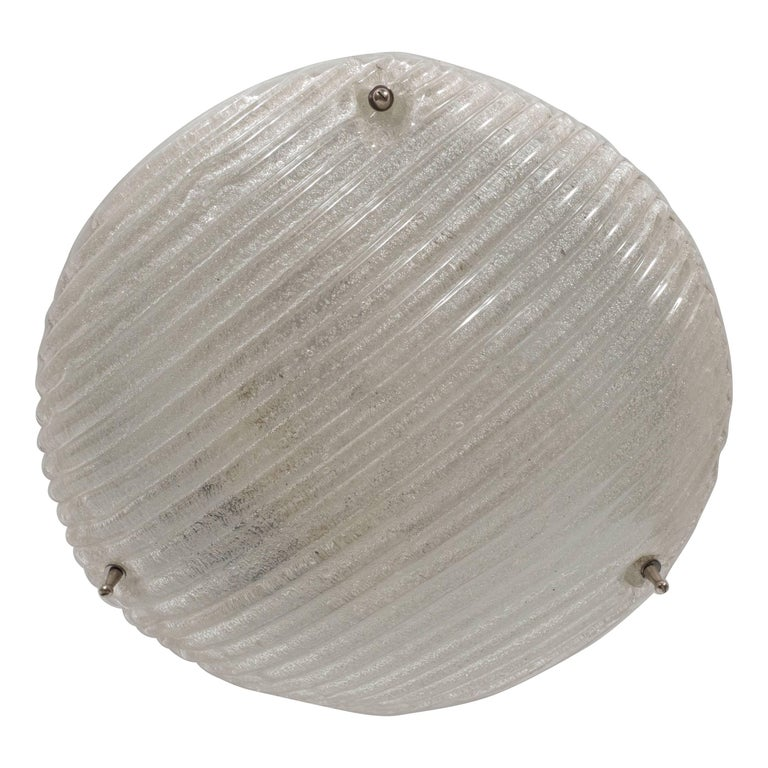 Striated Mid-Century Modernist Flush Mount with Nickel Fittings