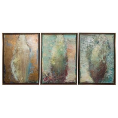 Stunning Modernist Oil on Canvas Abstract Triptych Painting by Marilyn Levin