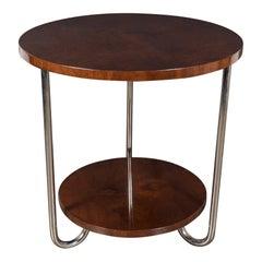 Art Deco Occasional Table, Wolfgang Hoffman with Burled Walnut & Tubular Nickel